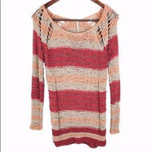 Free People Color Block Crochet Sweater